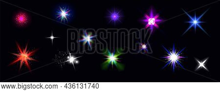 Color Shine Effects, Flash Lights With Sparkles And Glow Rays Isolated On Black Background. Vector R