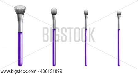 Makeup Brushes, Professional Cosmetic Tools. Vector Realistic Set Of 3d Make Up Brushes Different Si