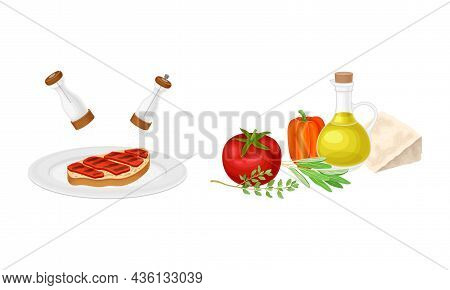 Bruschetta Cooking Set. Fresh Vegetables And Bread Toast Slice With Meat Vector Illustration