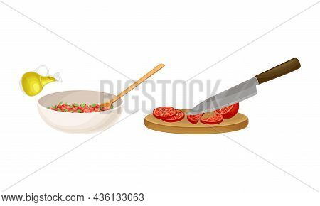 Bruschetta Cooking Set. Mixing Ingredients In Bowl And Slicing Tomatoes On Wooden Board Vector Illus