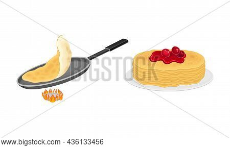 Pancakes Cooking Process Set. Stack Of Freshly Prepared Pancakes And Frying Pan On Burner Vector Ill
