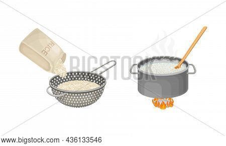 Rice Cooking Process Set. Rinsing And Boiling Rice Vector Illustration On White Background