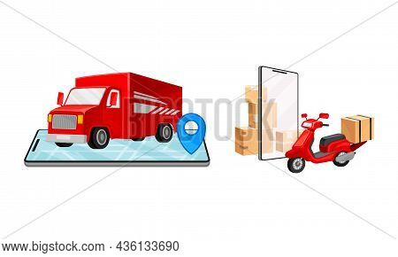 Online Delivery Service Set. Red Truck Delivering Parcel Box. Order Tracking Technology And Logistic
