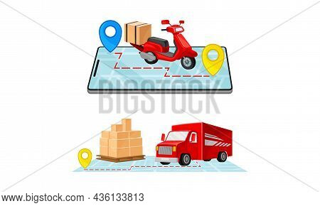 Delivery Service Set. Truck And Scooter Delivering Parcel Box. Online Order Tracking Technology And