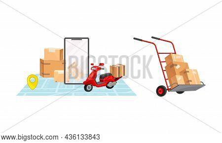 Parcel Box Delivering Set. Online Order Tracking Technology And Logistics Concept Vector Illustratio
