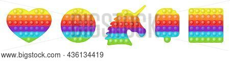 Set Of Various Shape Popit As A Trendy Rainbow Fidget Toys. Addictive Anti-stress Toy In Bright Colo