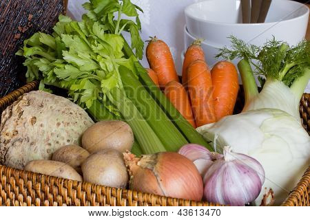 Raw Vegetables And Basket