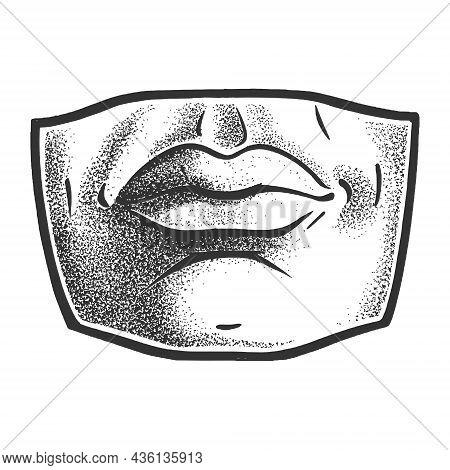 Gypsum Plaster Cast Human Lips Mouth Sketch Engraving Vector Illustration. T-shirt Apparel Print Des