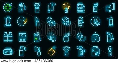 Medical Oxygen Concentrator Icons Set Outline Vector. Aid Doctor. Air Clinic Oxugen