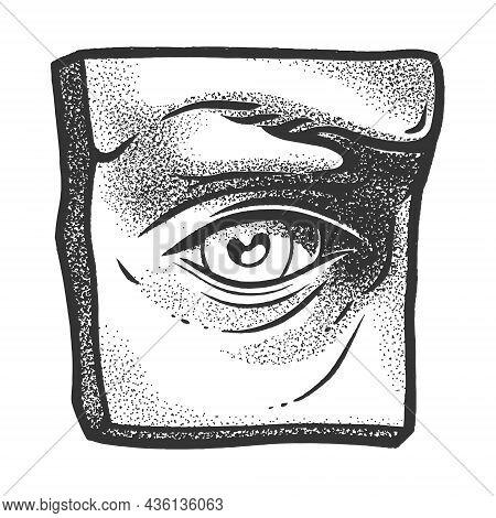 Gypsum Plaster Cast Human Eye Sketch Engraving Vector Illustration. T-shirt Apparel Print Design. Sc
