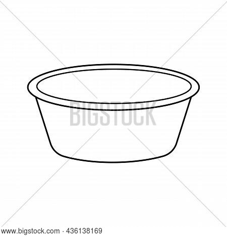 Empty Round Basin Icon. Vector Outline Illustration Isolated On White Background