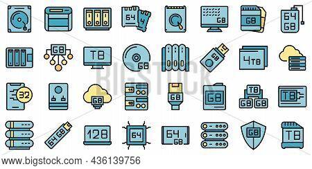 Gigabyte Icons Set Outline Vector. Big Data. Communication Terabyte