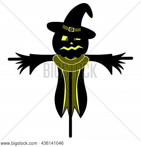 Scarecrow. Silhouette. Scare Birds Away. Pumpkin On The Head. Frightened Facial Expression With Shin