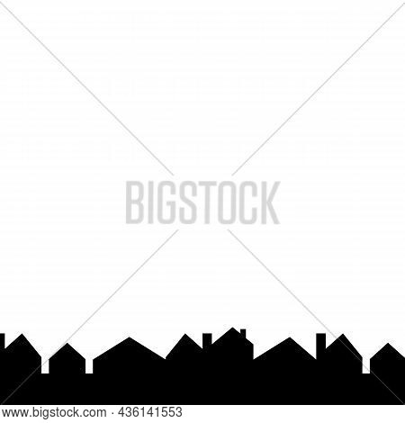 Cityscape, Houses Flat Border, Vector Icon, In A Row Christmas Winter Decoration