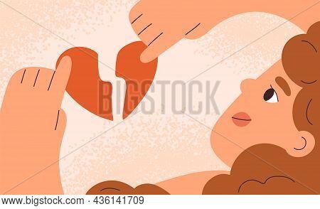 Woman With Broken Heart. Divorce, Heartbreak And Love Relationships Break Up Concept. Symbol Of Brea