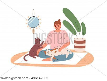 Woman Sitting On Yoga Mat With Cute Cats At Home. Happy Persons Workout With Pets. Female And Funny