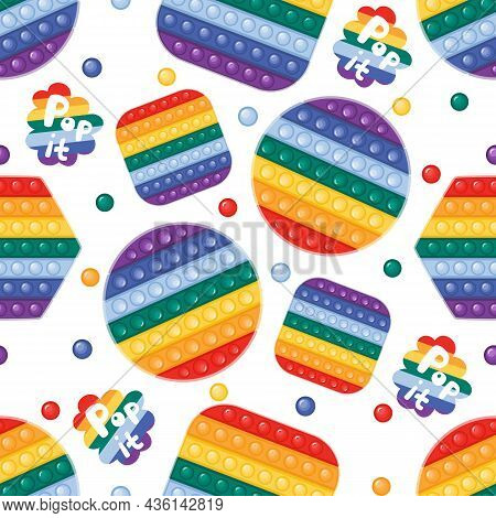 Vector Seamless Pattern With Trendy Pop It Fidget Toy In Rainbow Colors. Сircle, Square And Hexagon