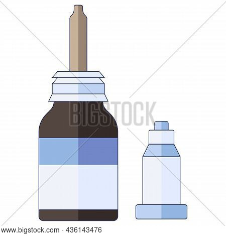 Medical Concept. Nasal Drops. For Colds, Flu, Cough Medicine Drops In The Nose In A Flat Style Isola