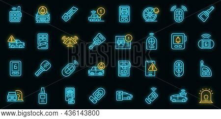Car Alarm System Icons Set Outline Vector. Key Chain. Auto Ignition