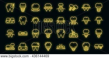 Dental Implant Icons Set Outline Vector. Surgery Jaw. Medicine Screw