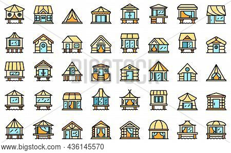 Bungalow Icons Set Outline Vector. African Cabin. Beach Cottage