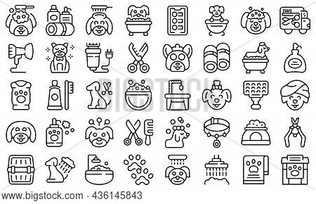 Dogs Spa Icons Set Outline Vector. Shower Grooming. Animal Spa