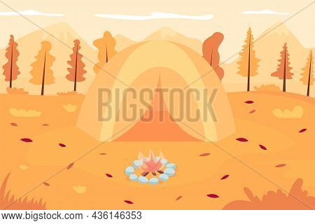 Autumn Camping Flat Color Vector Illustration. Tent In Front Of Campfire. Recreation In November. Au