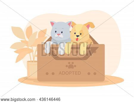 Rescued Pets In Box 2d Vector Isolated Illustration. Saving Animals. Dog And Cat In Container For Sh