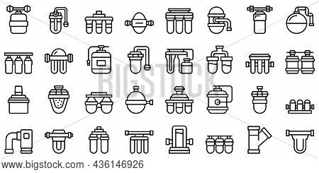 Reverse Osmosis System Icons Set Outline Vector. Aqua Filter. Water Reverse
