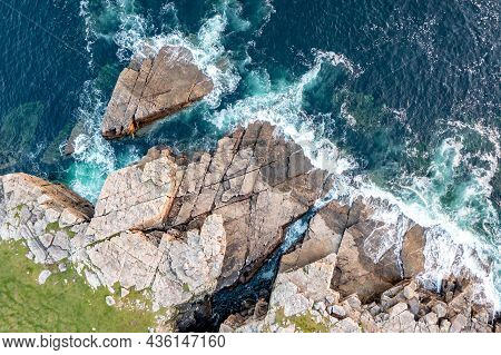 Aerial View Of The Rocky Coastline By Marmeelan And Falcorrib South Of Dungloe, County Donegal - Ire