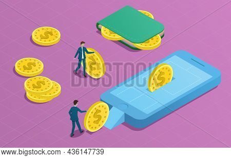 Online Wallet Isometric Concept. Man Rolling Coins To Phone. Money Transfer From Wallet To Smartphon