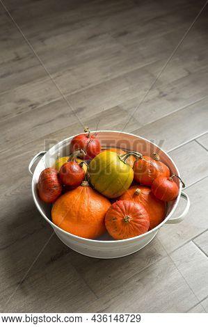 Orange Autumn Pumpkins In A White Metal Basin On A Brown Floor Vertical Top View