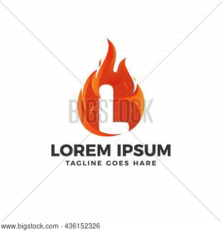 Fire L Letter Logo Vector With Fire Illustration