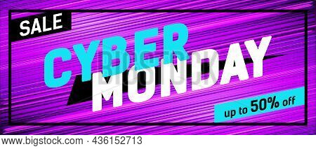 Cyber Monday Promo Banner On A Bright Striped Background.
