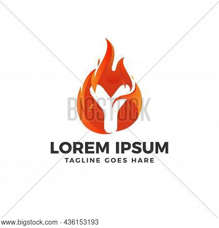 Fire Y Letter Logo Vector With Fire Illustration