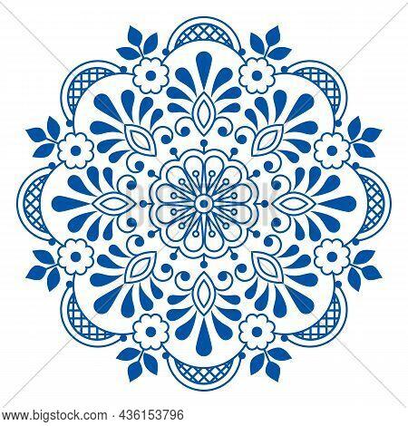 Folk Art Scandinavian Vector Mandala Design With Flowers, Greeting Card Or Wedding Invitation Floral