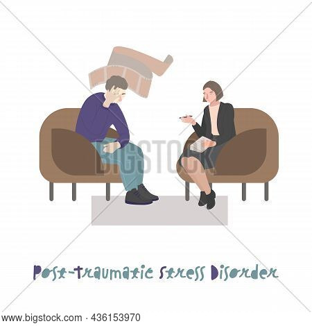 Post Traumatic Stressdisorder. Therapy, Psychotherapy Creative Concept.