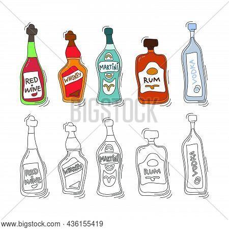 Red Wine, Whiskey, Martini, Rum, Vodka Bottle On White Background. Two Kinds Beverage. Cartoon Sketc
