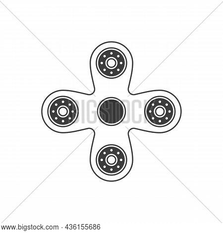 Simple Hand Spinner In Flat Style. Finger Spinner Stress Relieving Toy. Meditation Or Anti Stress De
