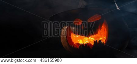 A Creepy Pumpkin With A Carved Grimace In The Smoke. Jack O Lantern In The Dark.
