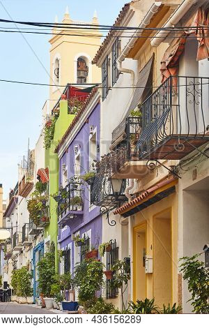 Picturesque Colored Facades In Calpe Old Town. Alicante, Spain