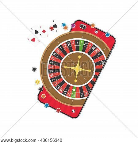 Smart Phone With Casino Roulette Wheel, Poker Chips And Dice On Screen. Gambling App, Device With Ga