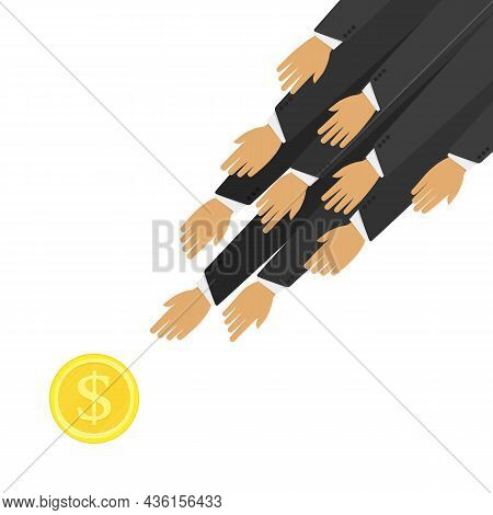 Hands Reaches For Money. Hands Trying To Reach Money. Funding, Payment Or Need For Money Concept. Bu
