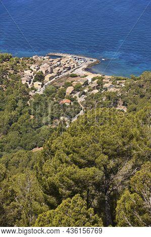 Balearic Islands Mediterranean Coastline. Picturesque Village Valldemossa Port. Spain