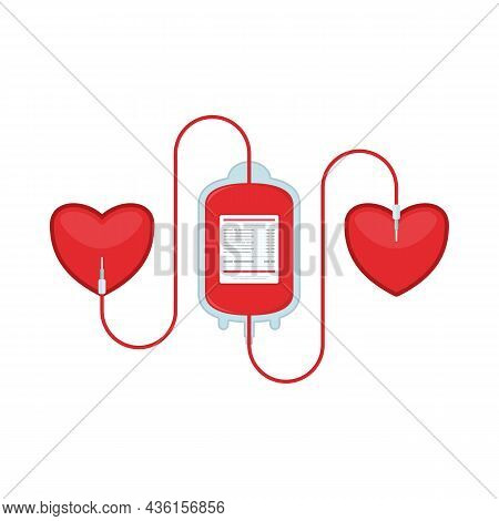 Blood Donation Plastic Bag With Tube In Flat Style And Heart. Donate Blood Concept. Medical Backgrou