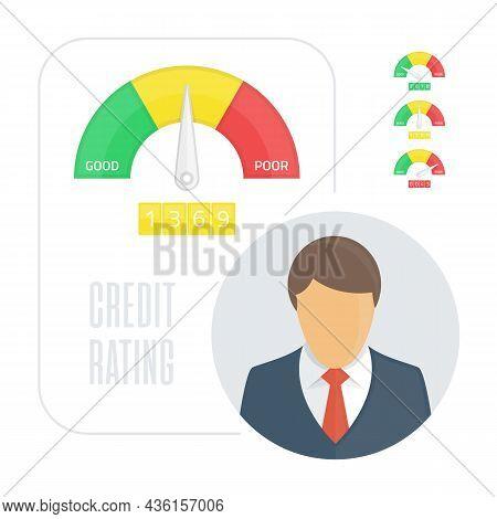 Credit Score Indicators Or Gauges. Manometer Vector Illustration. Flat Colorful Financial History As