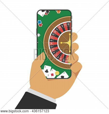 Smart Phone In Hand With Casino Roulette Wheel On Screen. Gambling App Concepts. Businessman Holding