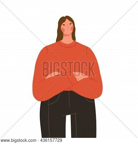 Angry Offended Woman With Arms Crossed. Frustrated Female Character With Unhappy Face Expression. Fl