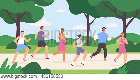 Cartoon Group Of People Jogging In City Park, Race Competition. Outdoor Run Exercise. Men And Women