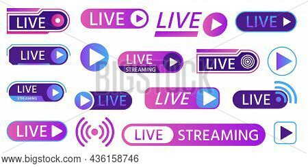 Live Icons For Game Streaming, Tv Broadcasting, Show Or News On Air. Buttons And Bars For Social Med